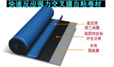 快速反应粘强力交叉膜自粘卷材
